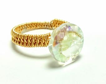Crystal Ring, Gold Ring, Wire-Wrapped Ring, Handmade Ring, Wire-Wrapped Jewelry
