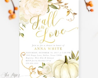 Fall bridal shower etsy fall bridal shower invitation fall in love autumn bridal shower invite pumpkin gold white roses printed or printable design fall 2 filmwisefo