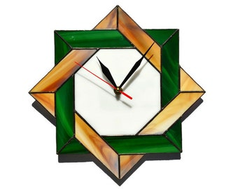Wall clock Celtic stained glass in rustic colors white green and wood brown - Unique modern geometric art for home or office