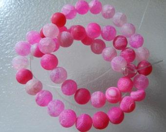 Beautiful! 8mm Pink  Dream Fire Dragon Veins Agate  Beads V5287