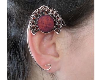 Brown silver pointy elven ear cuff elfish ears
