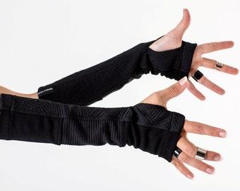 Fingerless gloves Sci-fi clothing black arm warmers jersey gloves hand warmers wrist cyberpunk clothing cyberpunk gloves goth gloves - H-ARW