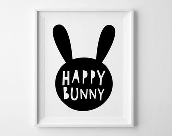 Happy bunny playroom decor, nursery wall art print, mini learners, Scandinavian print, gender neutral print, kids room decor, nursery print