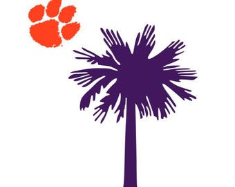 Clemson decal, SC decal, car decal, clipboard decal, laptop decal, teacher gift, graduation gift, tiger paw decal, vinyl decal, cup decal