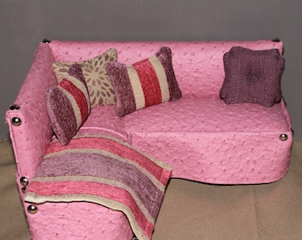 Playscale sectional couch for 1/6 barbie scale dolls & Dollhouse Plate and Mug set for barbie monster high ever after