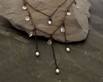 Tender Mercies - Pink AQUAMARINE and Pearl Necklace, Oxidized Silver Chain, Layered Necklace, Stone Charm Gemstone, Delicate, Artisan