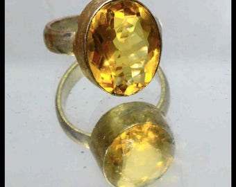 27.85Ct Certified US Size-7.5 Yellow Citrine Ring Gems 925 Sterling Silver AU3485
