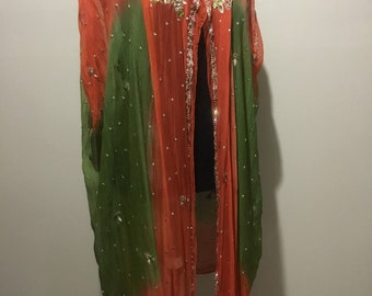 Upcycle vintage silk sari vest, one size, beaded, orange , green, one of a kind