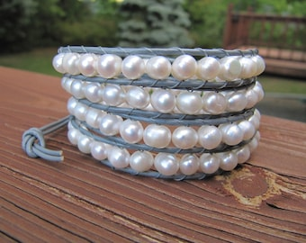 White Freshwater Pearl Wrap Bracelet with Grey Leather