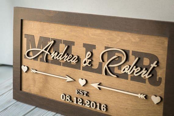 Wedding Gift Signs: Last Name Established Sign Rustic Wood Sign Custom Wedding