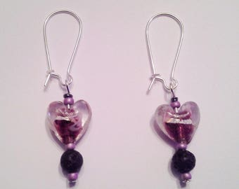 Fuchsia glass heart earrings