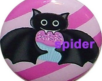 BatCake Pin Pink Button  1 inch buttons Gothic Accessories Goth Pins Bat Cupcake Pin