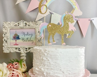 Personalized Unicorn Cake Topper, Gold Glitter Unicorn Cake Topper, Pink Glitter Unicorn Cake Topper, Unicorn Birthday Party, Unicorn Theme