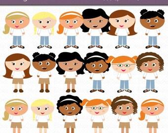 Little Girls Digital Art Set Clipart Commercial Use Clip Art INSTANT Download Cute Little Girl Clip Art