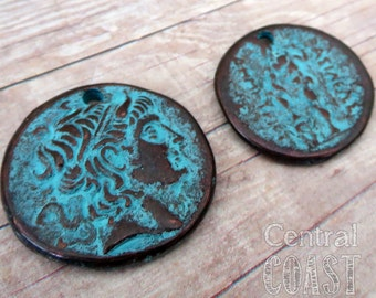Old World Alexander the Great Coin Charm Pendant Copper Casting - 28mm - Boho Vintage Ancient Verdigris Green Patina - Central Coast Charms