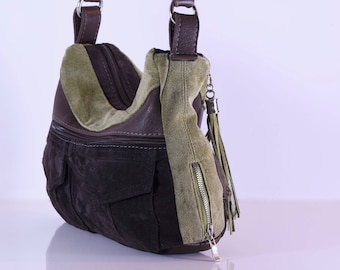 Brown and greens suede and leather, up cycled, hobo style, handbag