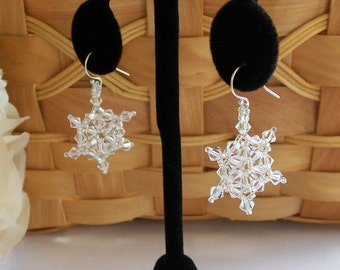 Clear Swarovski Crystal Hand-Stitched Snowflake Earrings