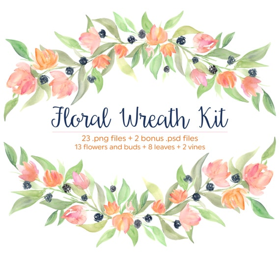 Floral Wreath And Hand Painted Flowers Watercolor Design
