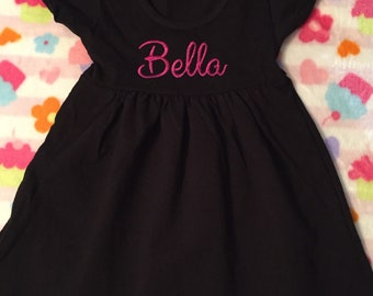 Adorable Tshirt Dress. Personalize with Monogram or have name embroidered across chest. Perfect lightweight dress for little girls!