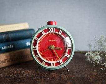 alarm clock Vintage, red blue turquoise, Soviet clock, Jantar, industrial decor, retro rustic home decor, desk clock office, working clock