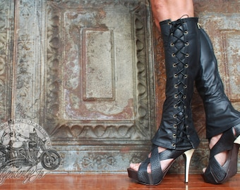 Knee High Lace Up Boots Leather
