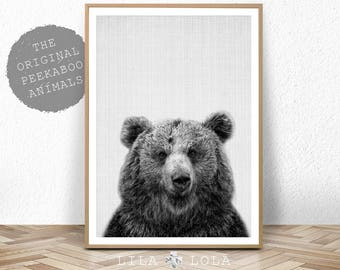 Bear Print, Woodlands Nursery Animal, Printable Poster, Digital Download, Nursery Decor Wall Art, Black and White, Kids and Babies Room