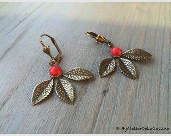 Abigail Art Nouveau earrings, with red howlite cabochon