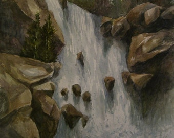 Majestic Falls, 16x20 Original Watercolor,ONE OF A KIND, Not a Print