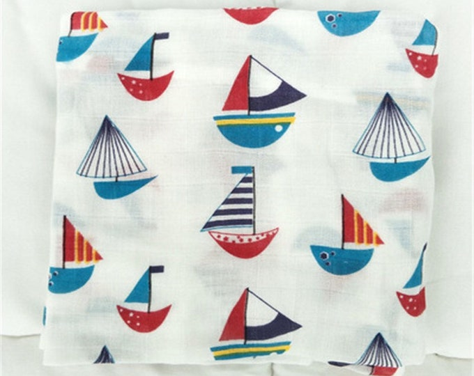Double gauze swaddle, Muslin swaddle, sail boats, swaddle blanket, newborn, light weight breathable baby blanket 46x46 Ready to ship