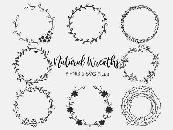 Floral Wreaths Hand Drawn Wreaths Doodle Clipart Floral