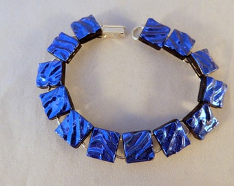 8 Inch Blue Dichroic Fused Glass Bracelet, 8 Inch, Fused Glass, Dichroic, Glass Bracelet, Dichroic Bracelet, Dichroic, Blue Bracelet, Blue