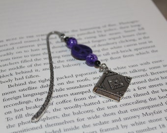 Metal Beaded Bookmark    Bookmark with Charm    Metal Bookmark    Book Lovers Gift    Readers Gift    Bookish Gift    Bookmark Charm    Gift
