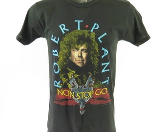 Vintage 80s Robert Plant Non Stop Go T-Shirt XL Deadstock 1988 Tour Rock & Roll [H96Y_0-6]