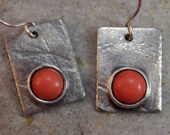 Elegant Sterling Silver Etched Earrings with Coral Stones (011218-002)
