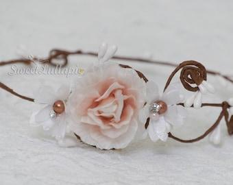 Newborn White Flower Tiara Crown Photo Prop Baby Crown Headband Newborn Princess Crown Photo Prop Baby Mauve Tiara Headband Newborn Crown