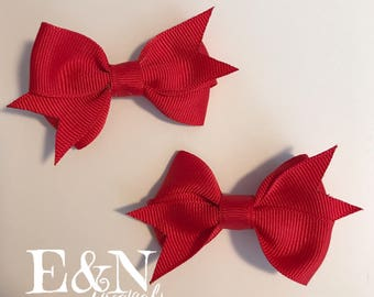 Red pig tail hair bows - red hair bows - pig tail hair bows - red hair bows - baby hair bows - toddler hair bows