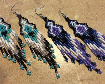 Long Tri-Color Seed Bead Earrings, turquoise, purple, emerald green