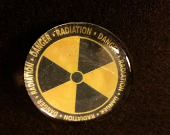 Handmade Vintage Style Danger Radiation   Glass Paperweight. Handcrafted  by Artist Nice