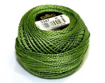 DMC 3347 Medium Yellow Green Perle Cotton Thread Size 5