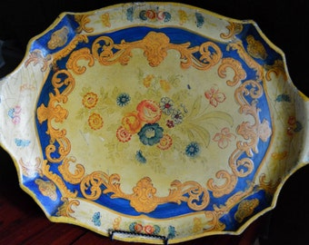 Vintage Paper Mache Alcohol Proof Tray Yellow and Blue