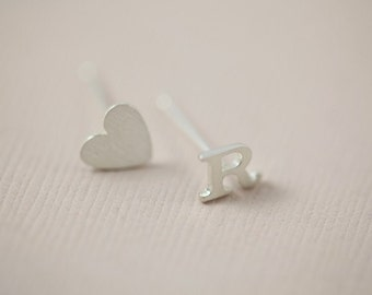 initial earrings, letter earrings, heart earrings, dainty earrings - sterling silver