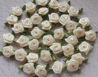 30 Mini Handmade Ribbon Roses (1/2 inches) In Lt Yellow And Have Over 150 Colors To Choose MY-021 - 01 Ready To Ship