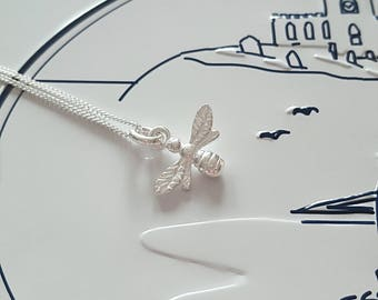 Bee Necklace, Bumblebee Necklace, Sterling Silver Bee Necklace, Silver Bee Necklace, Bee, Bumblebee, Gift For Her