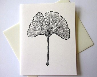 Ginkgo Leaf Note Cards Stationery Set of 10 Cards with Matching Envelopes