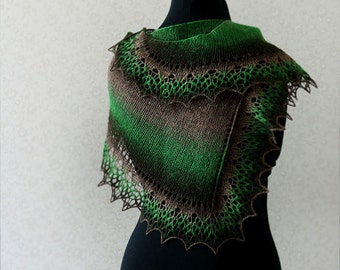 Handknit wool lace scarf - brown, green, black