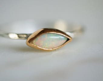 Gold and opal ring, opal ring, october birthstone, marquise opal, opal stacker, stacker ring, Ethiopian opal