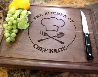 Personalized Chopping Block, 12x15~1&3/4 thick Walnut/Cherry/Sapele, Engraved Butcher Block - Wedding, Anniversary, Foodie Gift. 501