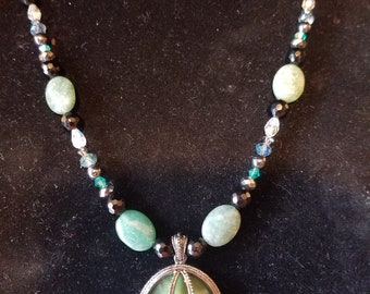 Gorgeous teal and jade necklace