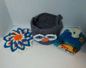 Crochet Hotpad Potholder, Hanging Towel Buttonless, And Recycled Plastic Grocery Bag Plarn Basket Owl