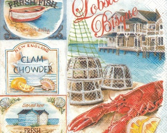 5 Paper Napkins Lobster Bisque Lunch for Decoupage Collage Craft Decopatch
